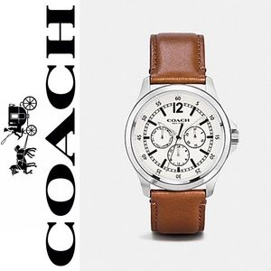 COACH Men's Watch Barrow  Leather Strap Stainless